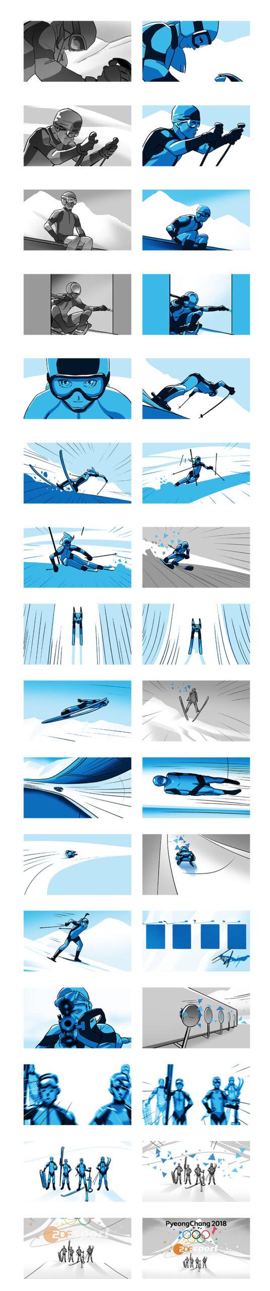 Storyboardübersicht, erstellt als Teil eines Pitches zur ZDF Winterolympiade zusammen mit Bitteschön.TV