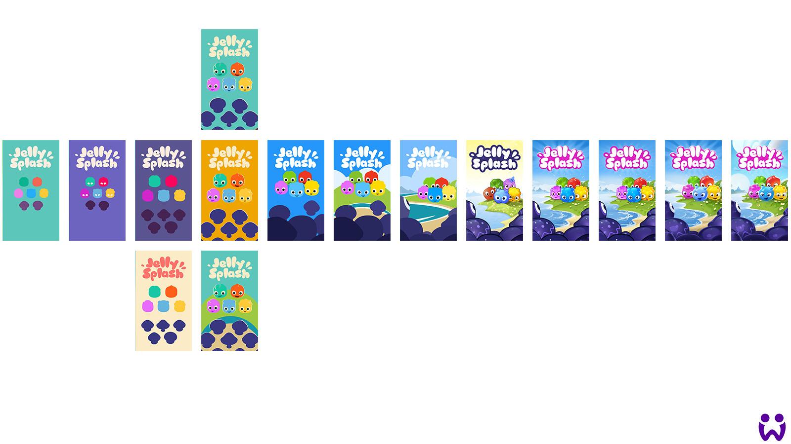 Eine Reihe von Illustrationen, die verschiedene visuelle Stile darstellt in denen die Marketingneuausrichtung geschehen könnte. Für Wooga's Mobilegame Jelly Splash