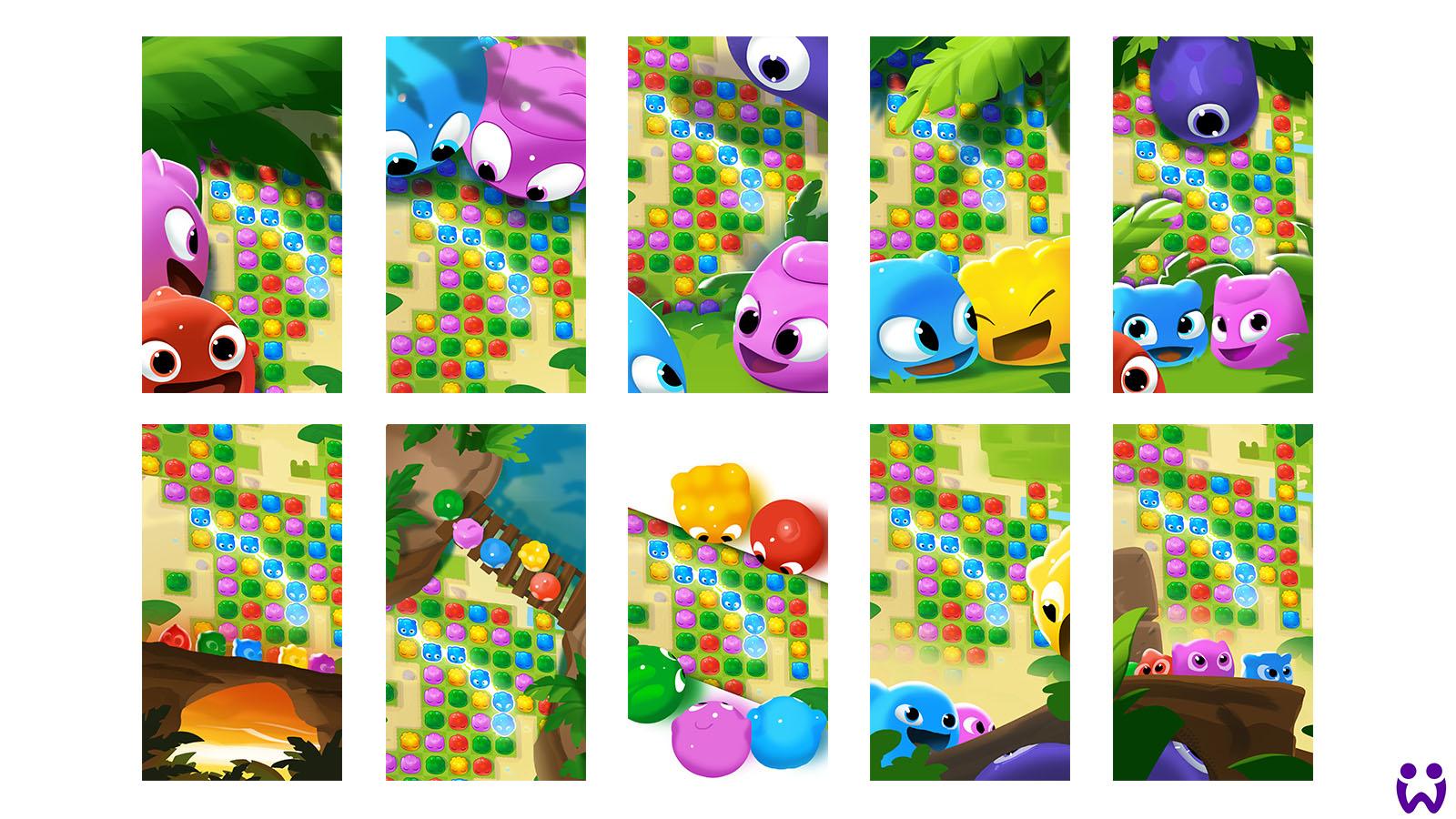 Eine Vielzahl von Skizzen die die Interaktion von Ingame-Spielfelddarstellung und Charakterillustration zeigt. Für Wooga's Mobilegame Jelly Splash.