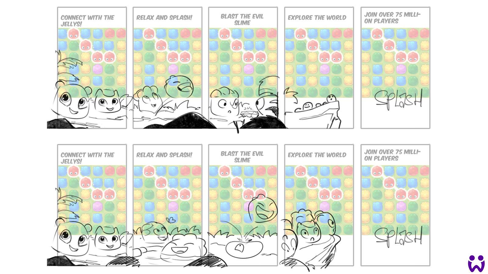Mehrere Reihen von Skizzen die verschiedene Jelly Splash Charaktergeschichten zeigen. Für Wooga's Mobilegame Jelly Splash.