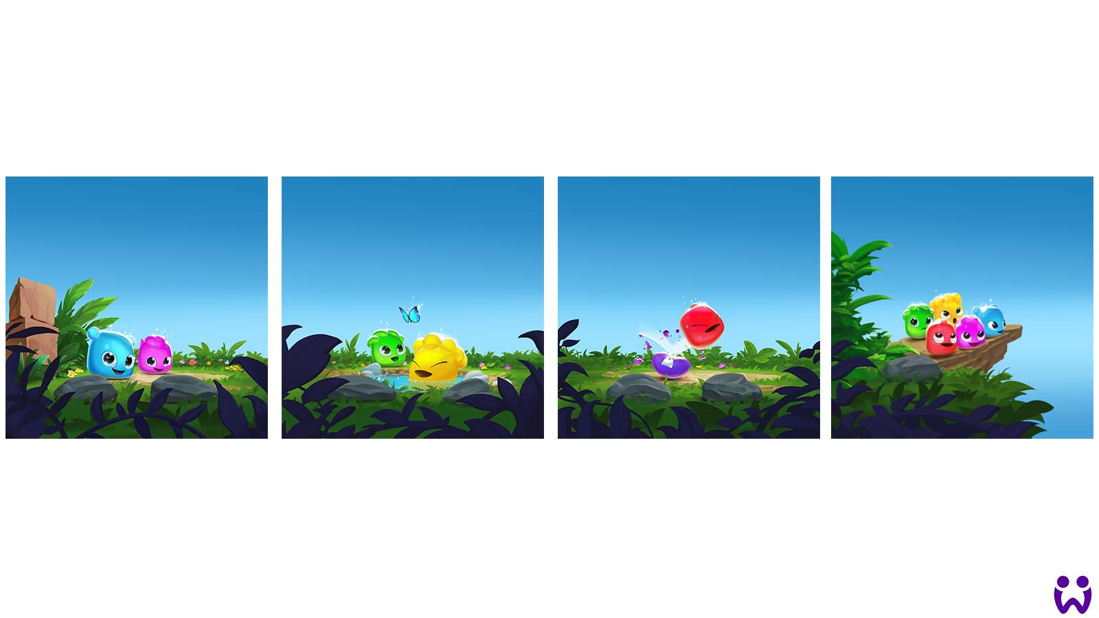 Eine Reihe von Illustrationen, die Jellys in verschiedenen Aktionen zeigt. Zur Nutzung im Appstore, für Wooga's Mobilegame Jelly Splash.