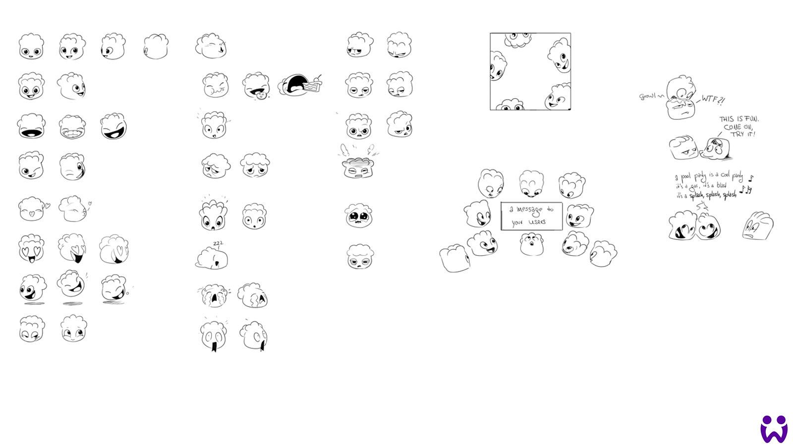 Skizzen für Jelly-character Emojis. Gedacht für das Social Media Team. Für Woogas Mobile Game Jelly Splash