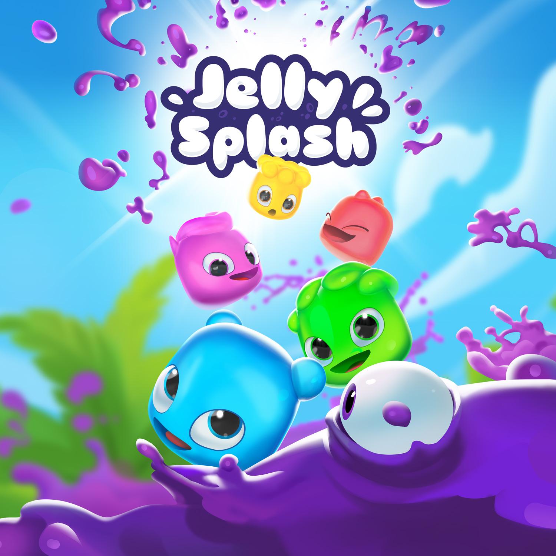 Galerie Cover: Farbenfrohe Marketingillustration, 5 Jelly-Charactere fliegen durch die Luft und attackieren den bösen Slime. Für Woogas Mobilegame Jelly Splash.