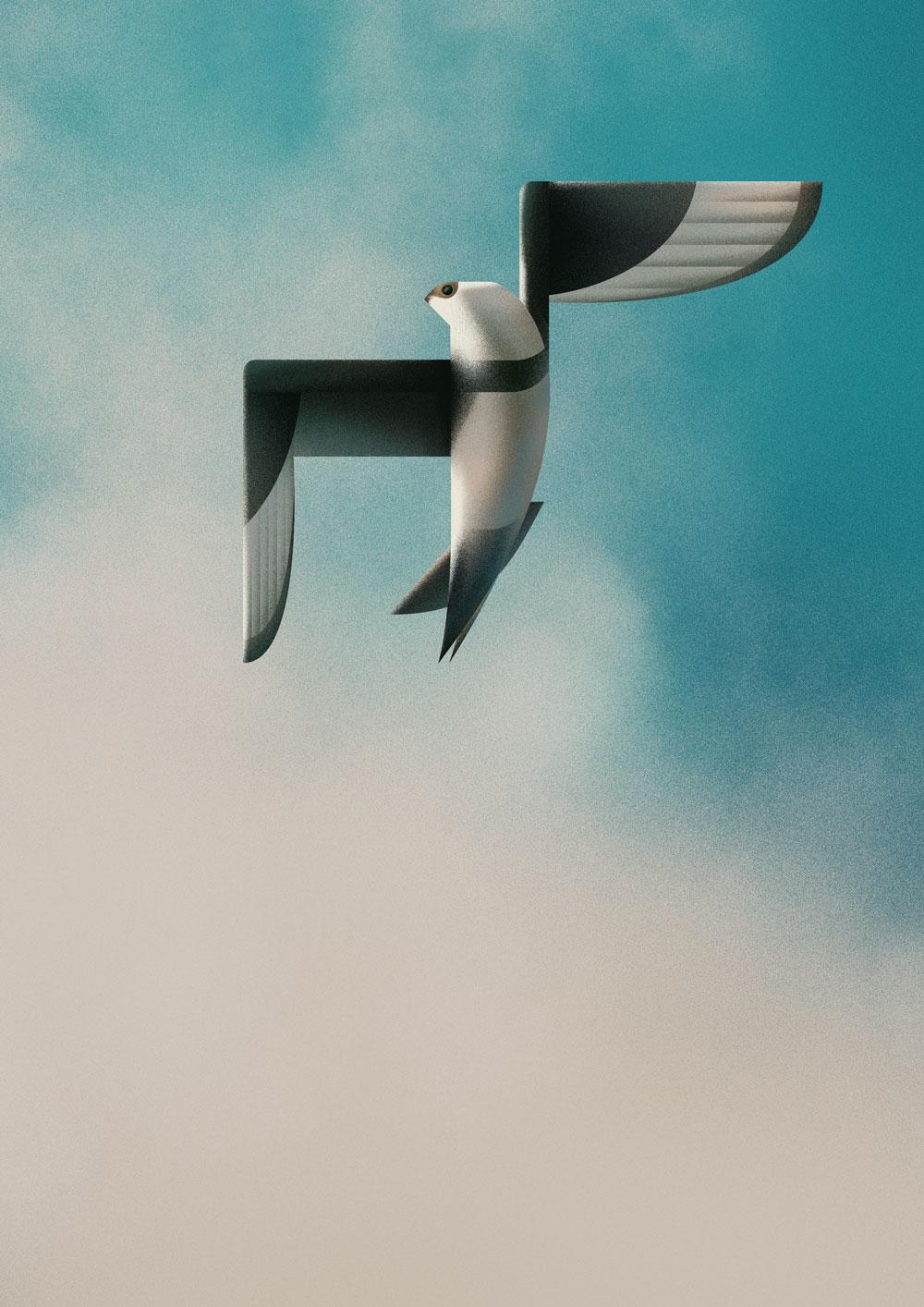 Leicht abstrakte Darstellung einer Schmarotzerraubmöwe