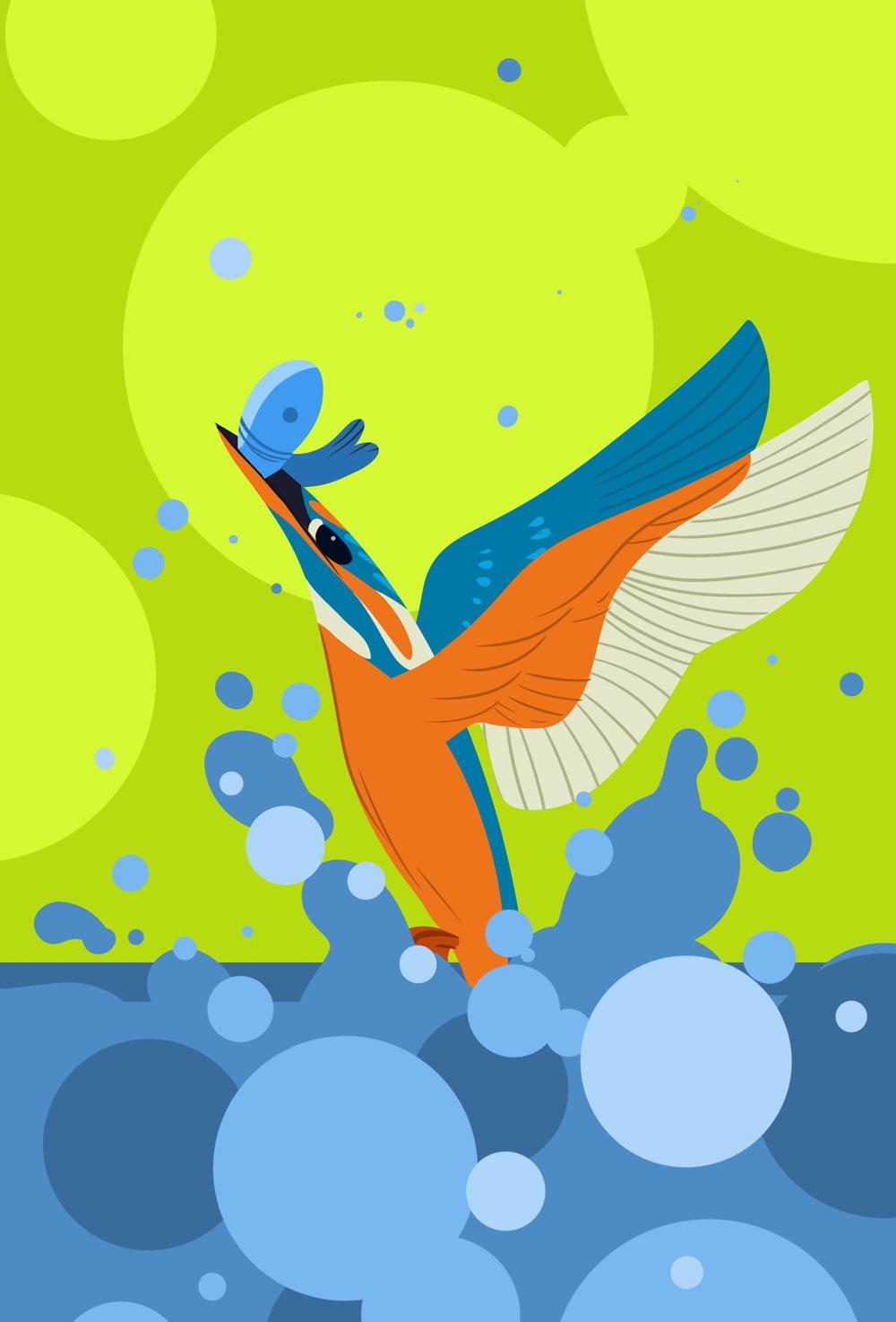 Leicht abstrakte, grafische Darstellung eines Eisvogels