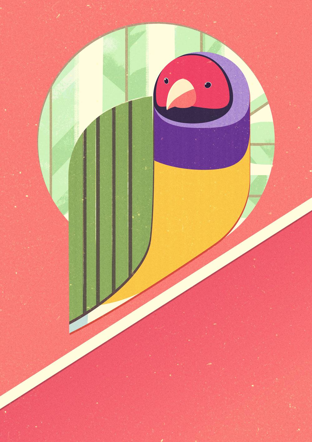 Leicht abstrakte, sehr grafische Darstellung eines Gouldamadinen