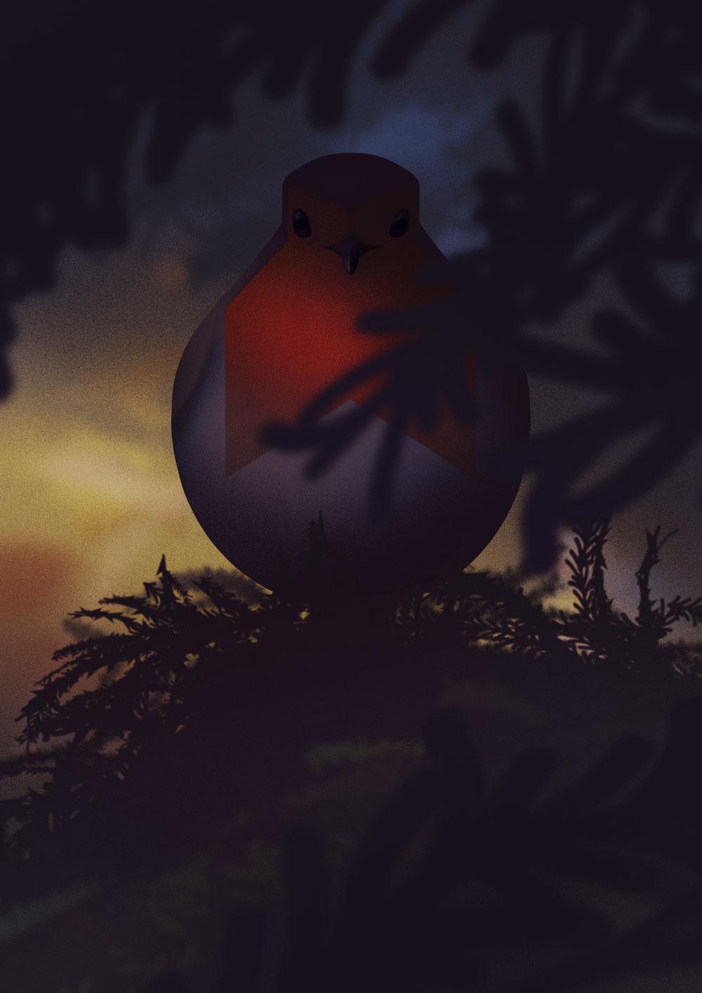 Stark abstrahierte Darstellung eines Rotkehlchen