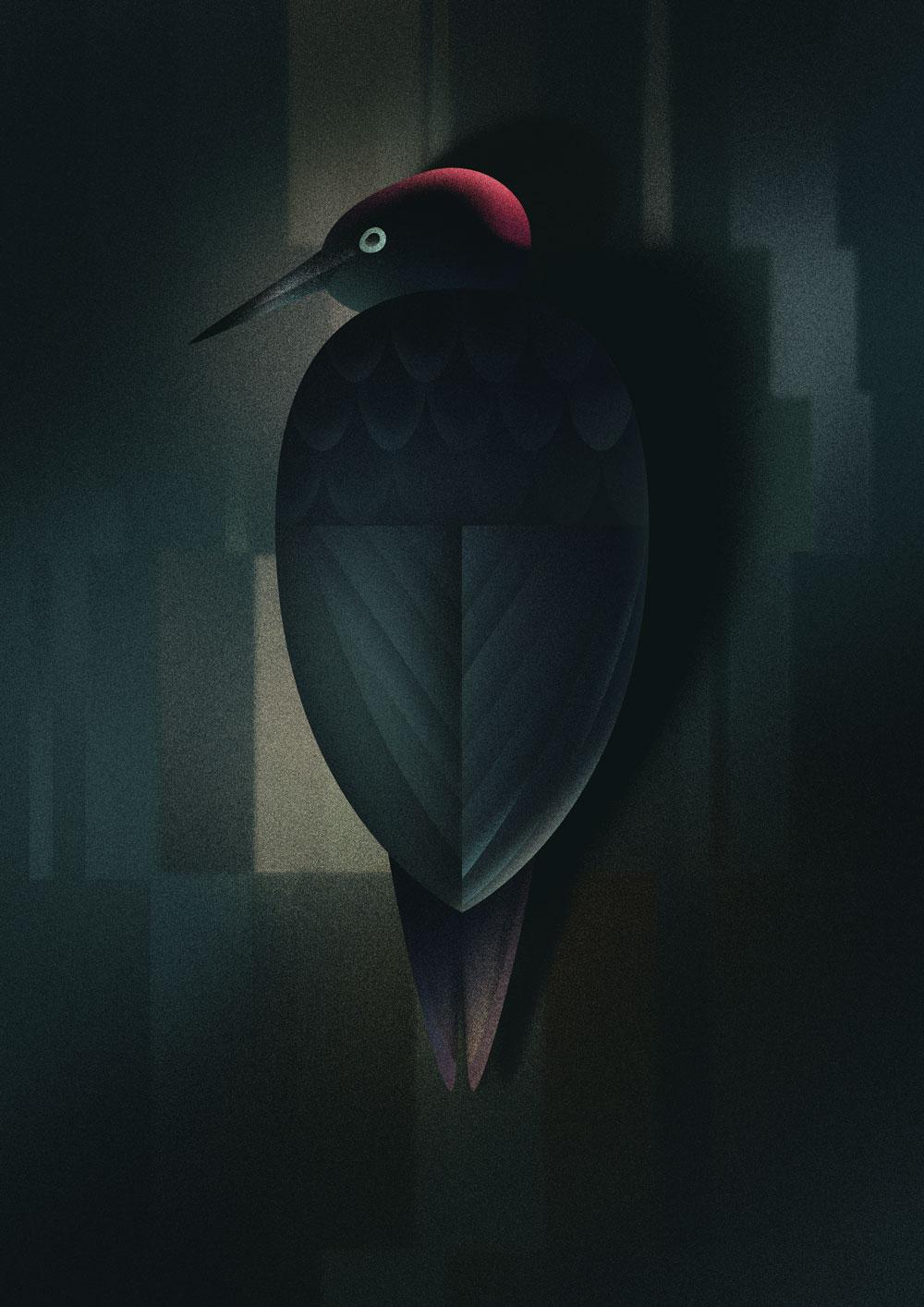 Leicht abstrakte Darstellung eines Schwarzspecht