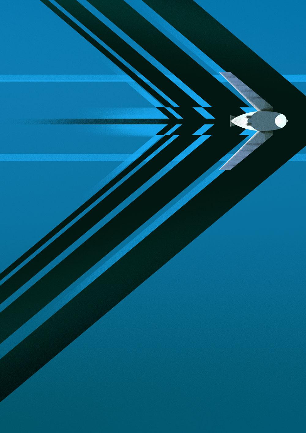 Stark abstrahierte, sehr grafische Darstellung eines Stachelschwanzsegler