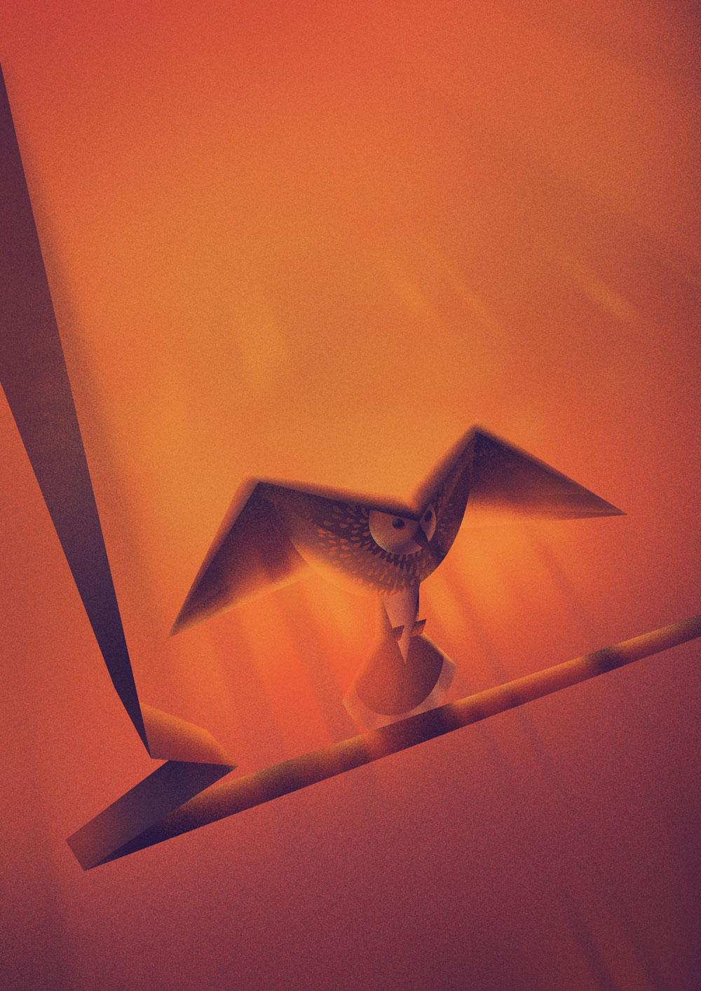 Stark abstrahierte Darstellung eines Tannenhaehner