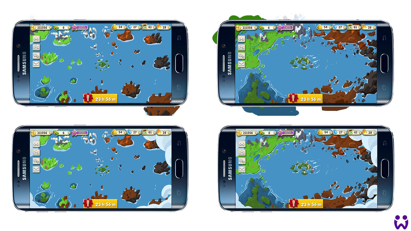 """2 von 25, Erste Experimente zur Weltkarte für das Mobilegame """"Wonderlings"""" von Wooga"""