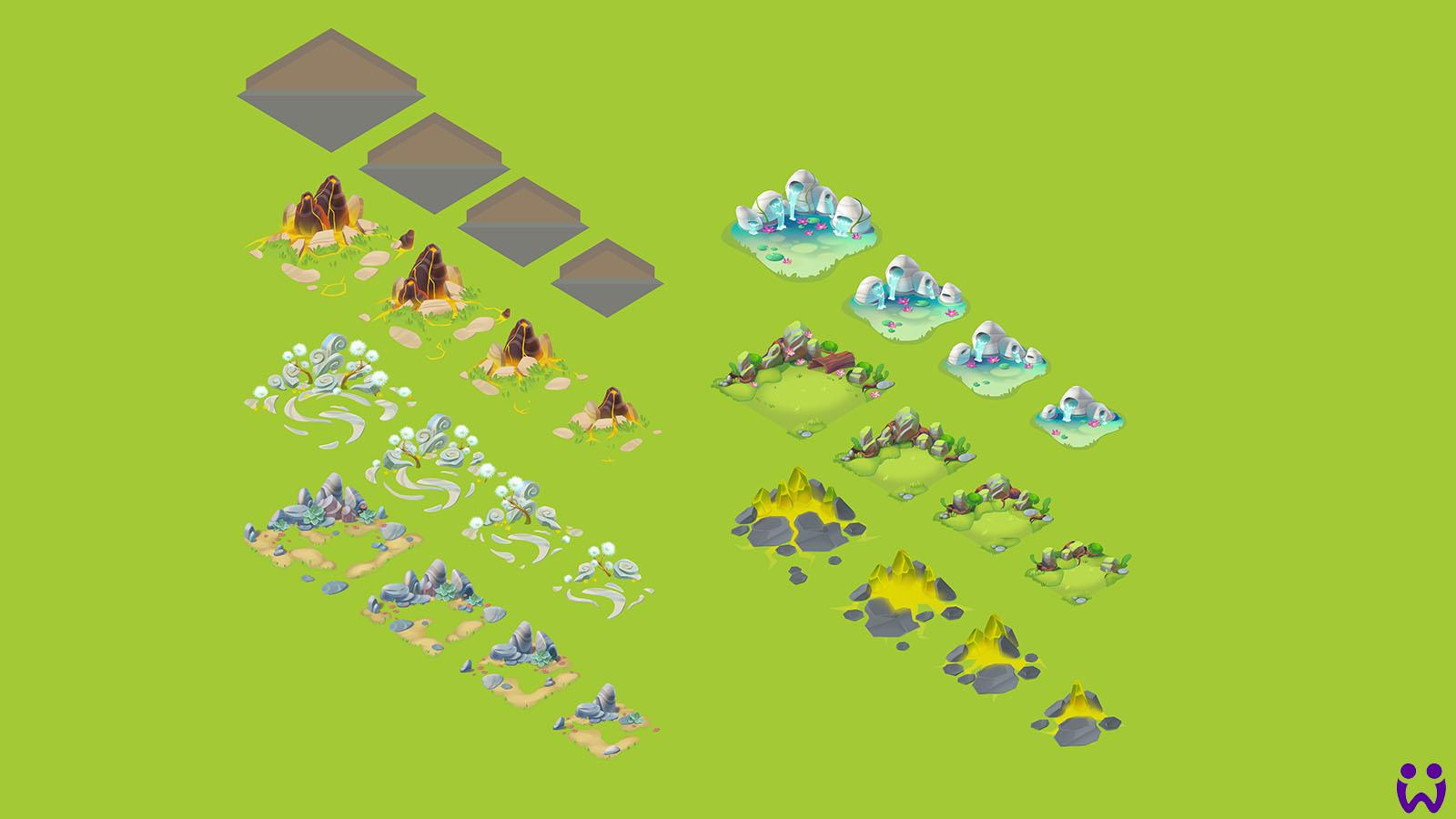 """13 von 25, Darstellung der Elementarhabitate für die Wonderlinge. Für das Mobilegame """"Wonderlings"""" von Wooga"""