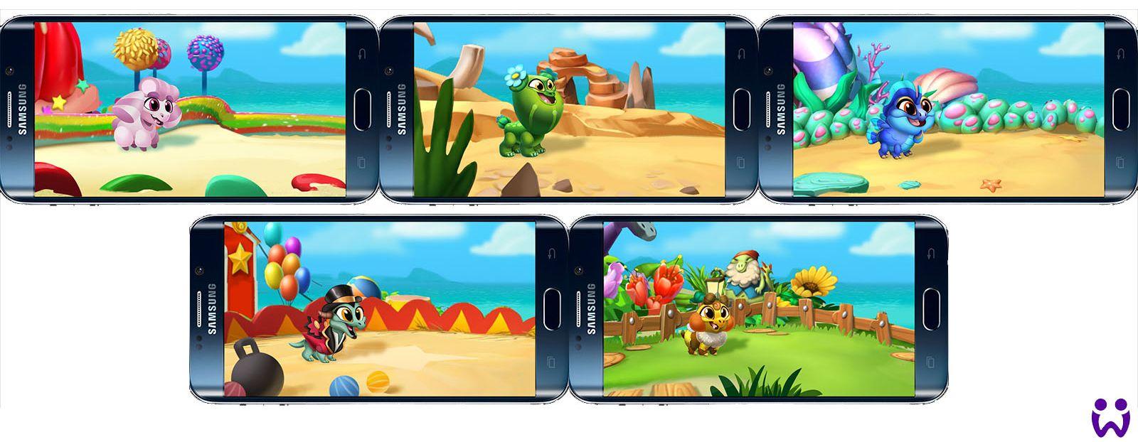 """14 von 25, Szenenhintergründe zur Interaktion mit Wonderlingen. Für das Mobilegame """"Wonderlings"""" von Wooga"""