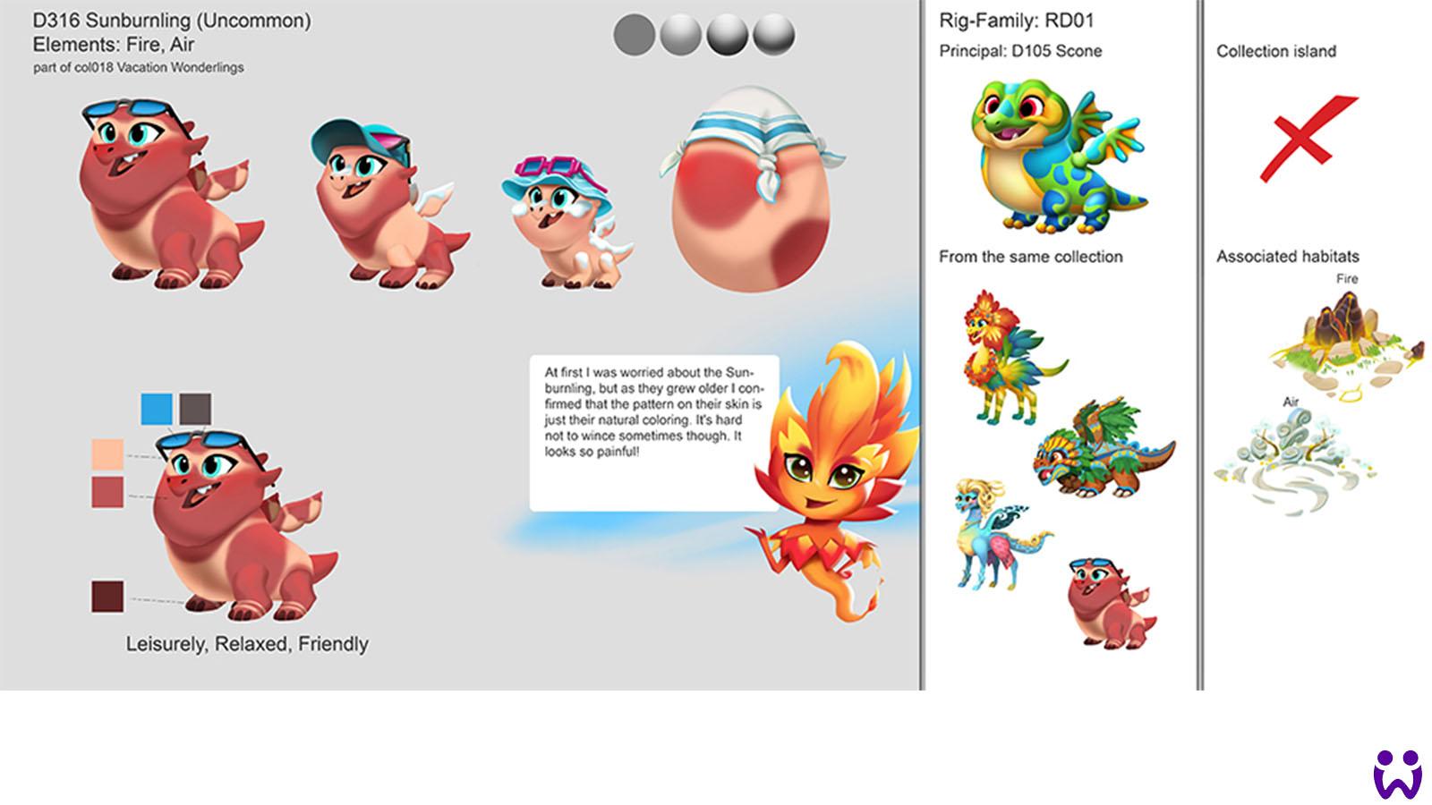 """15 von 25, Beispiel eines der wenigen von mir selbst erstellten Wonderling-Konzepte. Für das Mobilegame """"Wonderlings"""" von Wooga"""