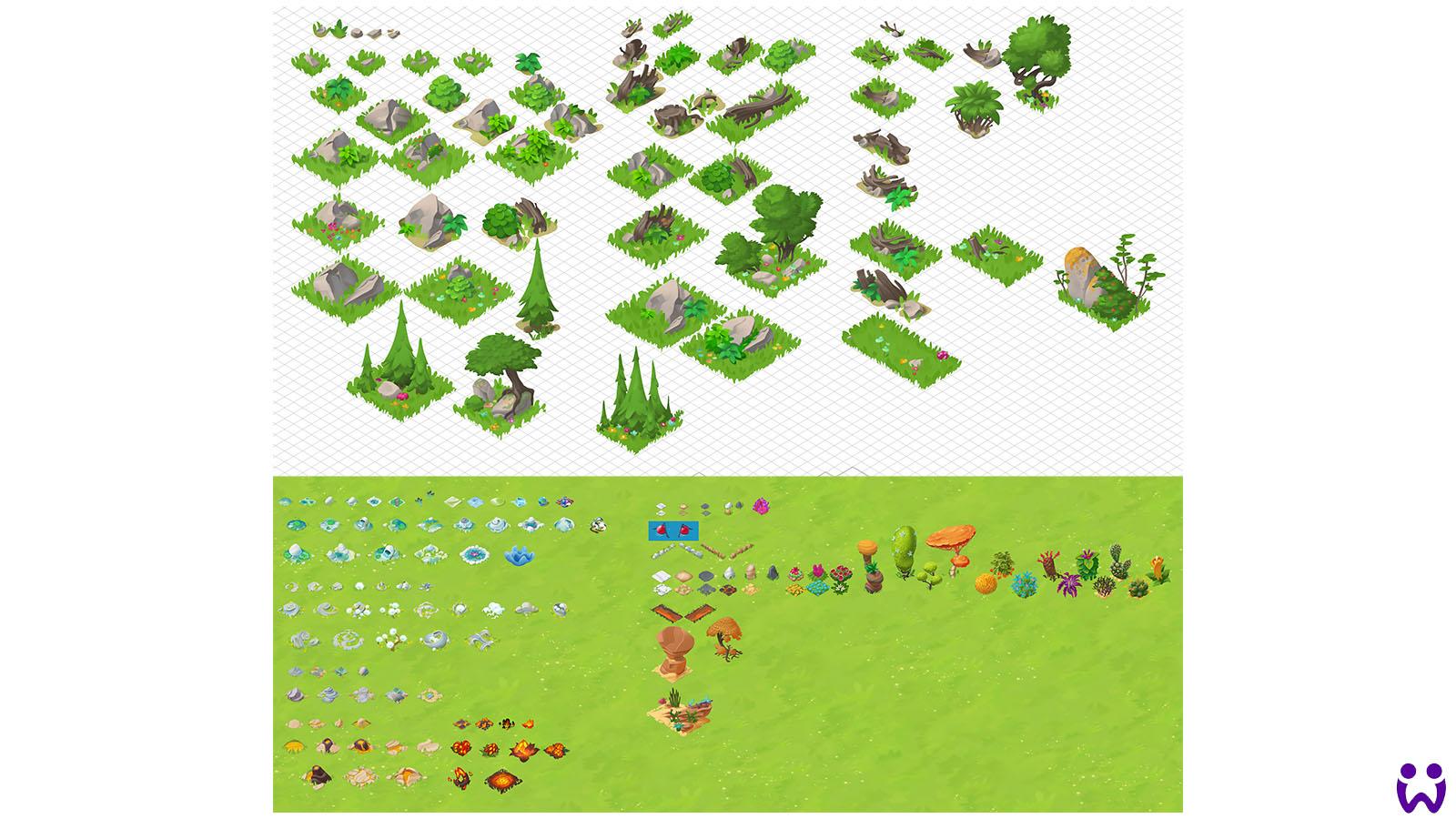 """16 von 25, Übersicht der von mir erstellten Schutt- und Dekorations-konzepte. Für das Mobilegame """"Wonderlings"""" von Wooga"""
