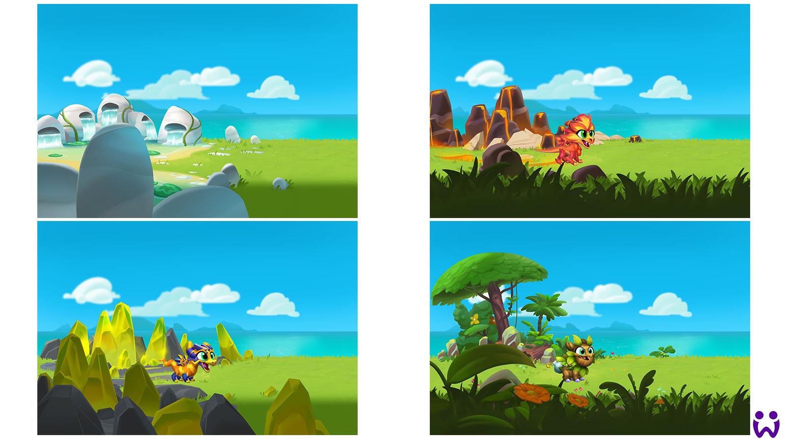 """18 von 25, Von mir erstellte Szenenhintergründe zur Interaktion mit Wonderlingen. Für das Mobilegame """"Wonderlings"""" von Wooga"""