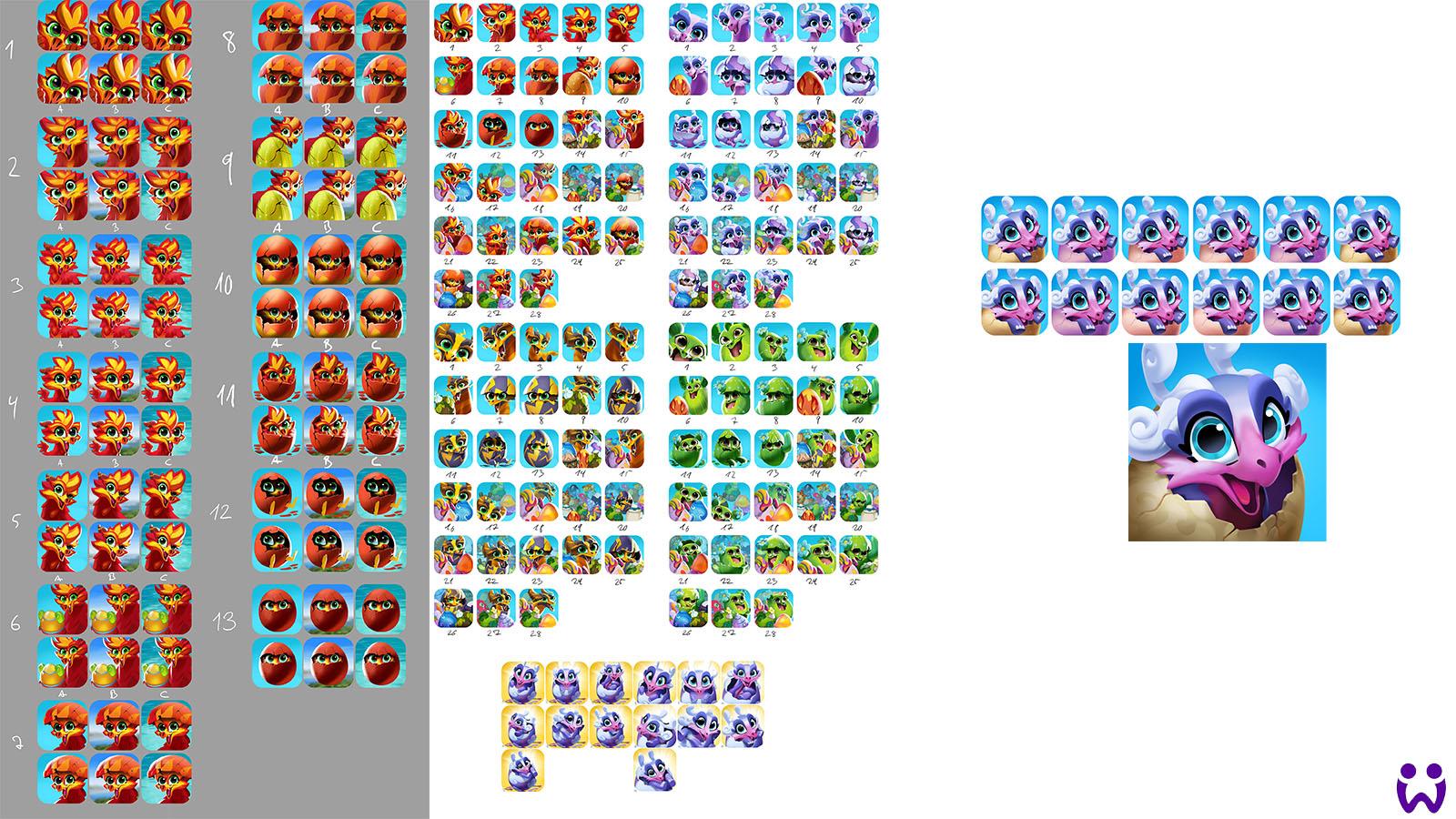 """19 von 25, viele verschiedene Experimente, Skizzen, und das finale App Icon. Für das Mobilegame """"Wonderlings"""" von Wooga"""