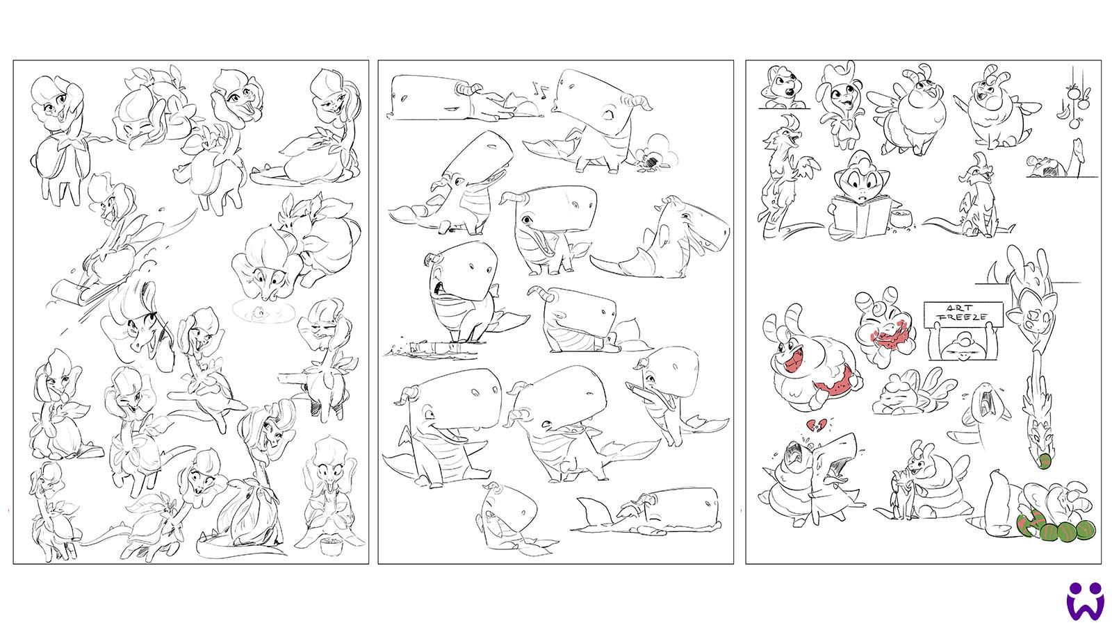 """20 von 25, Skizzen für potenzielle Marketingillustrationen. Für das Mobilegame """"Wonderlings"""" von Wooga"""