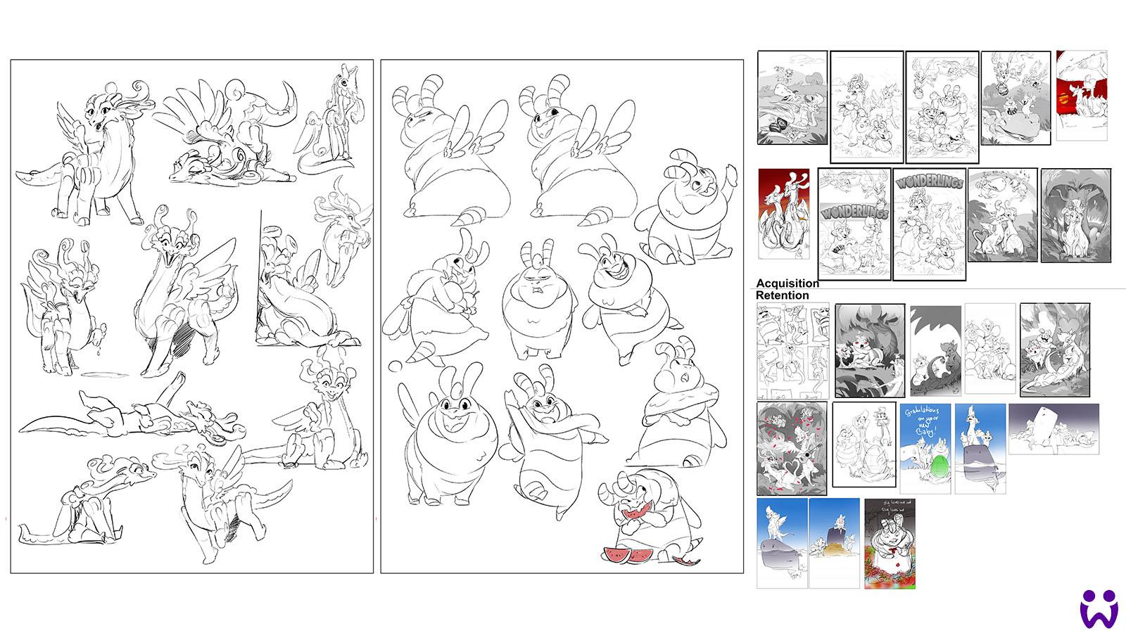 """22 von 25, Skizzen für potenzielle Marketingillustrationen. Für das Mobilegame """"Wonderlings"""" von Wooga"""