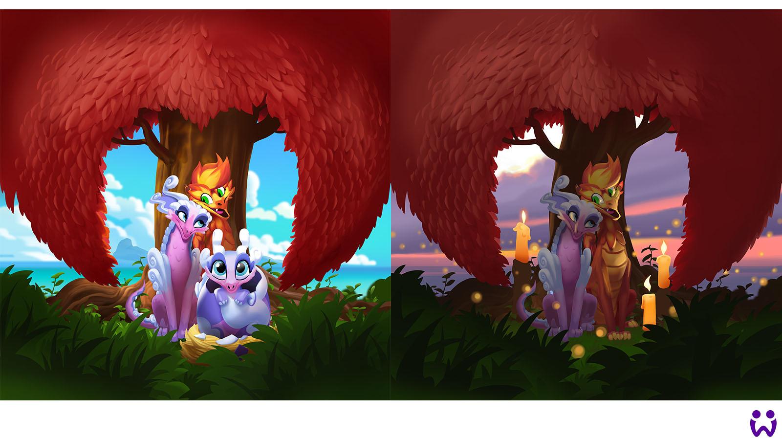 """24 von 25, die Hauptmarketingillustration in zwei Beleuchtungssituationen. Für das Mobilegame """"Wonderlings"""" von Wooga"""