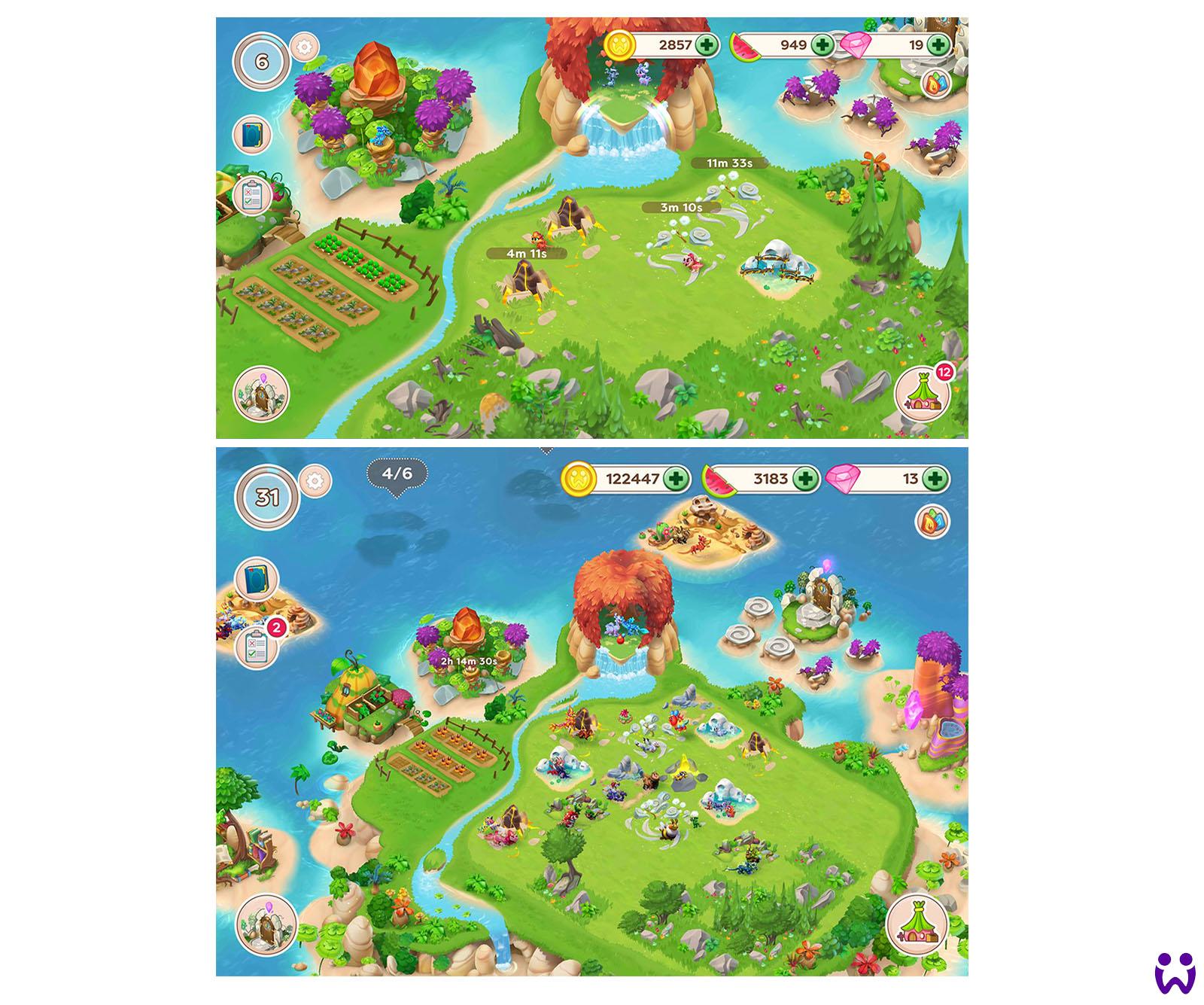 """25 von 25, Screenshots der beinahe finalen Version des Spiels. Für das Mobilegame """"Wonderlings"""" von Wooga"""