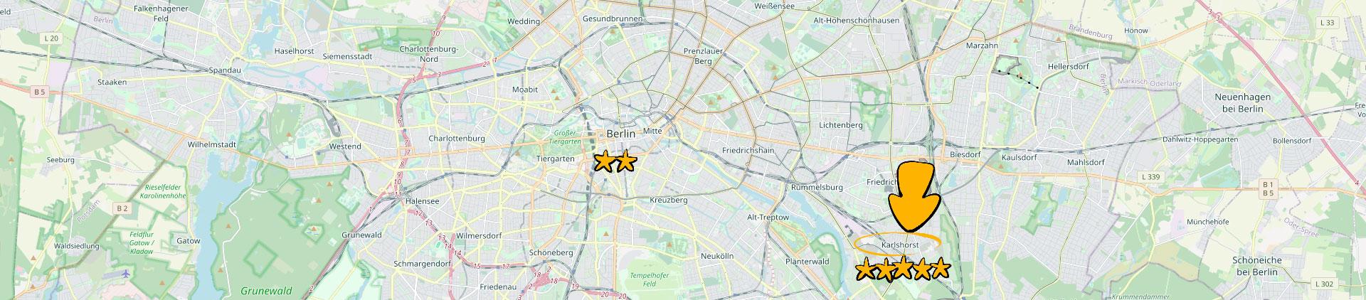 Bild eines Kartenausschnitts der Berlin und speziell Karlshort zeigt