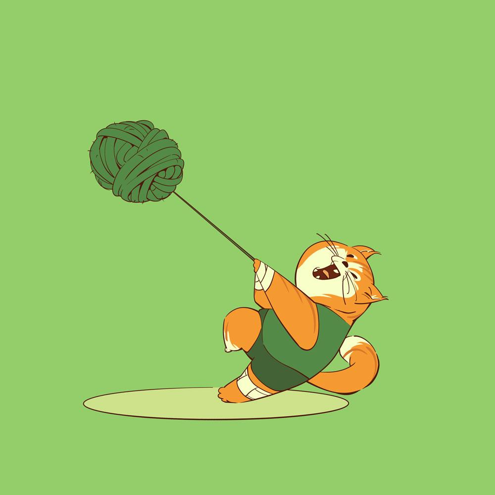 Darstellung einer Wollknäuel-Hammer werfenden Sportlerkatze
