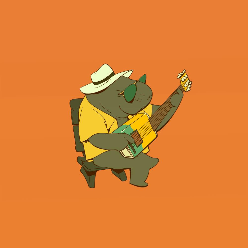 Darstellung eines Ölfass-Gitarre spielendes Manatees