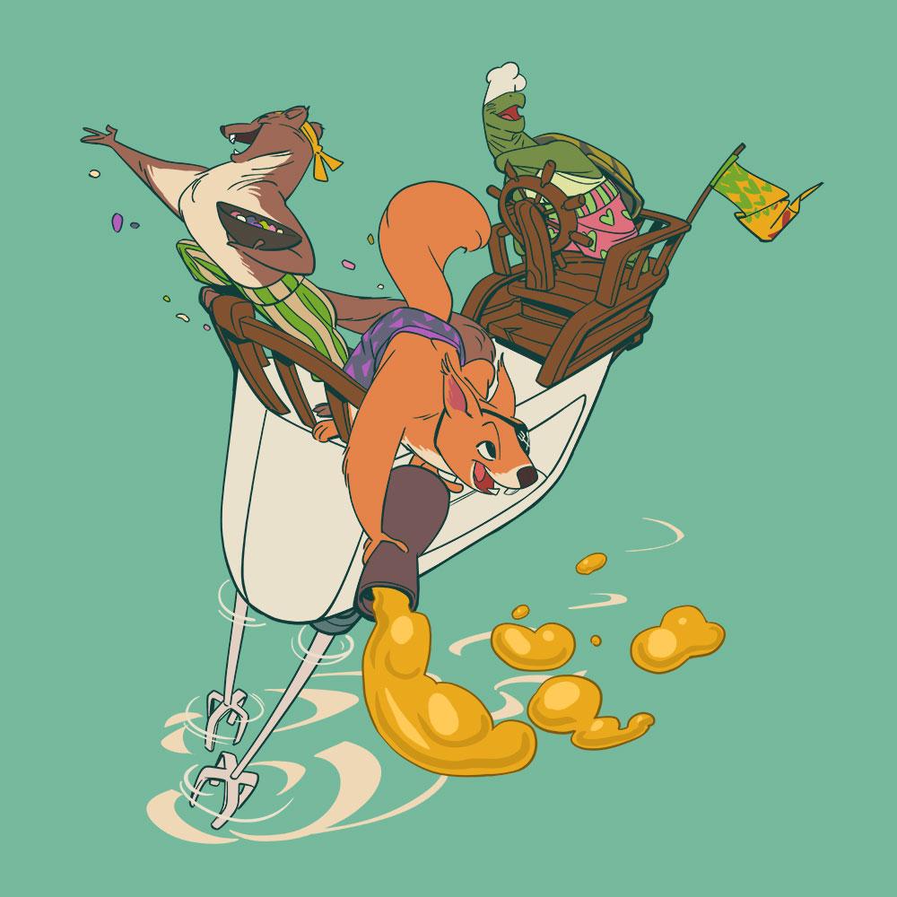 Darstellung einer Crew von Tieren die mit viel Freude Zutaten von ihrem Mixstab-Schiff verteilt