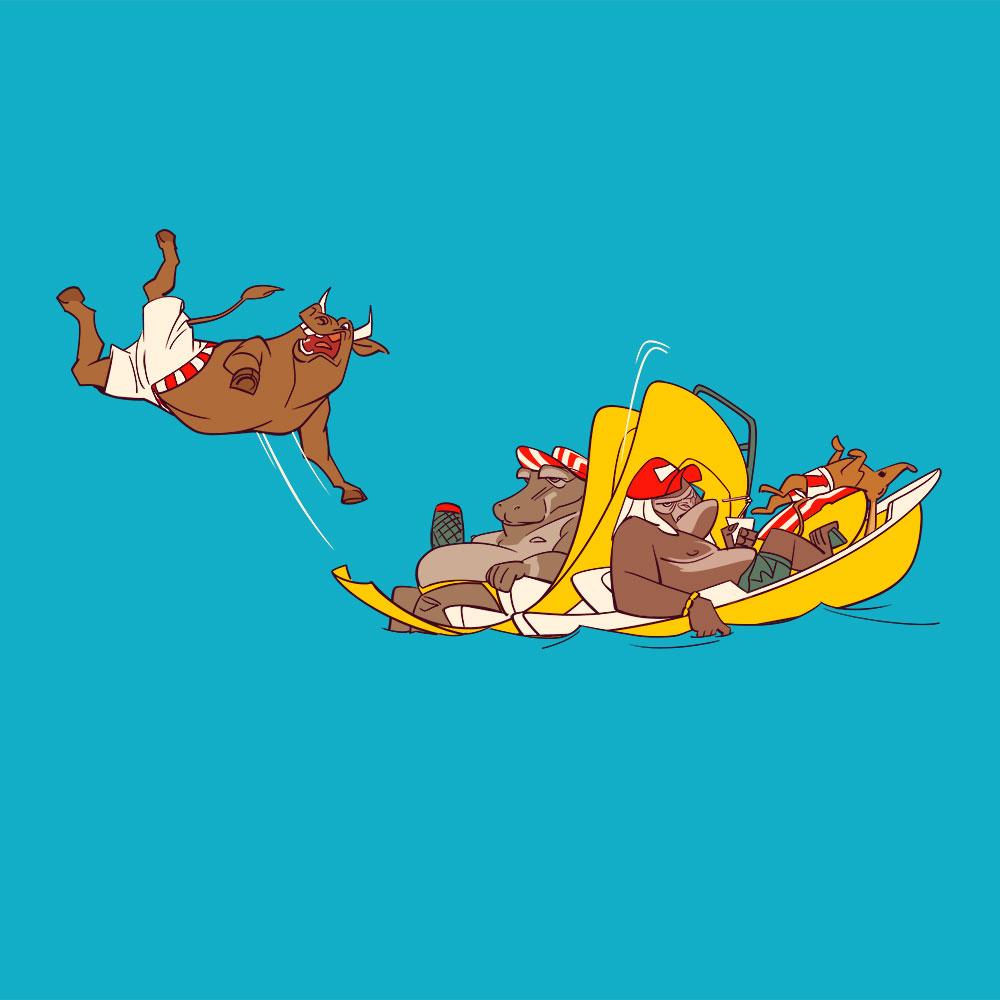 Darstellung einer Gruppe sehr entspannter Tiere beim Tretbootfahren