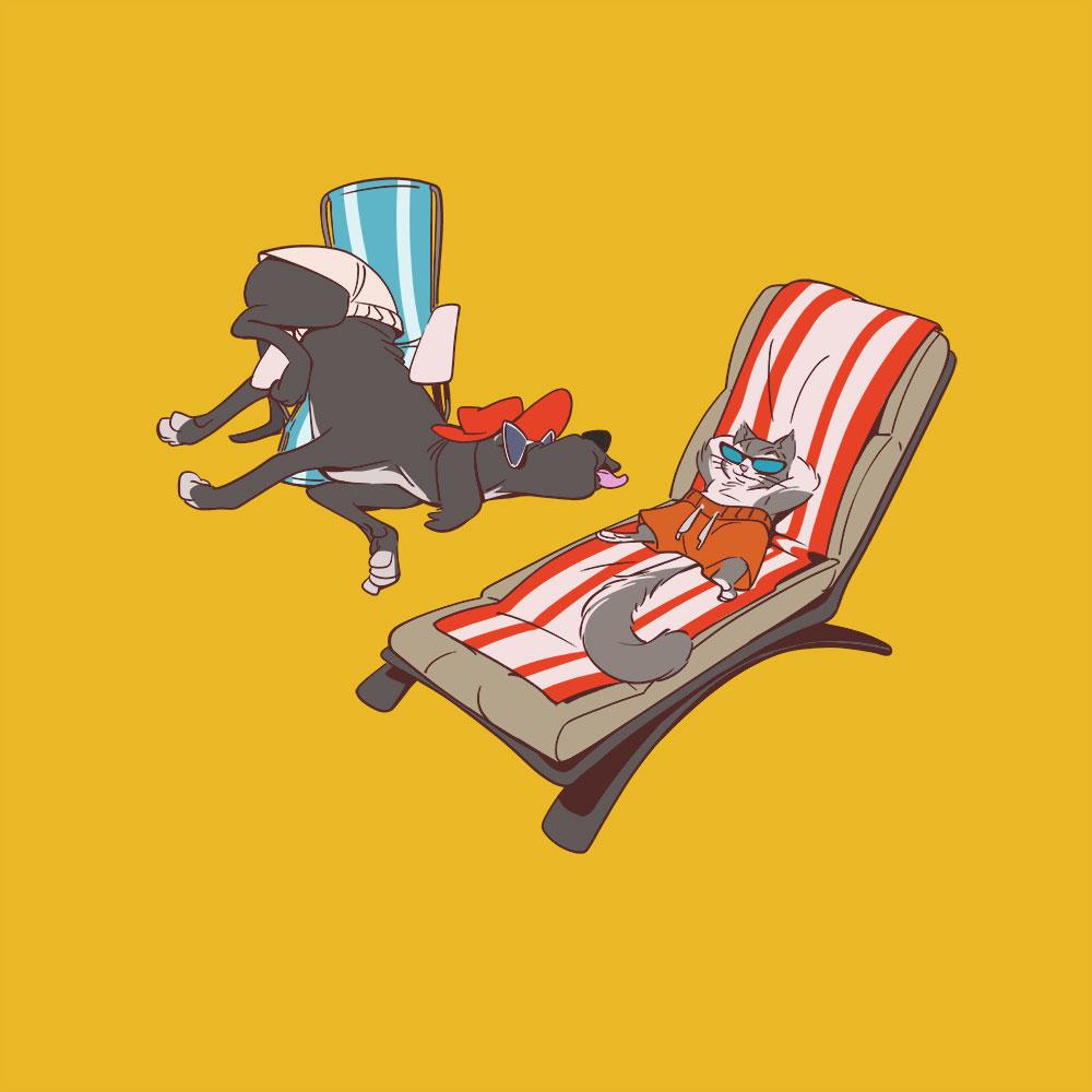 Darstellung von Hund und Katze beim Sonnenbaden