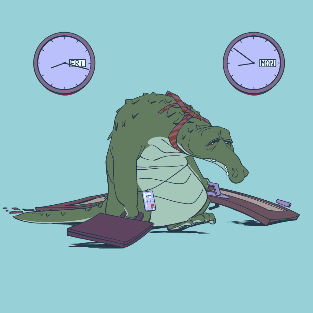 Darstellung eines Arbeiter-Krokodils dessen Wochenende nicht lang genug war zum Entspannen