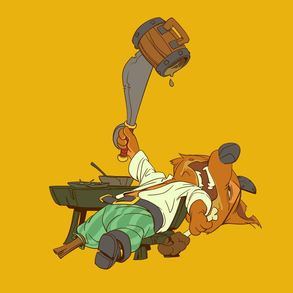 Darstellung eines Piraten-Fuchses im Essenskoma