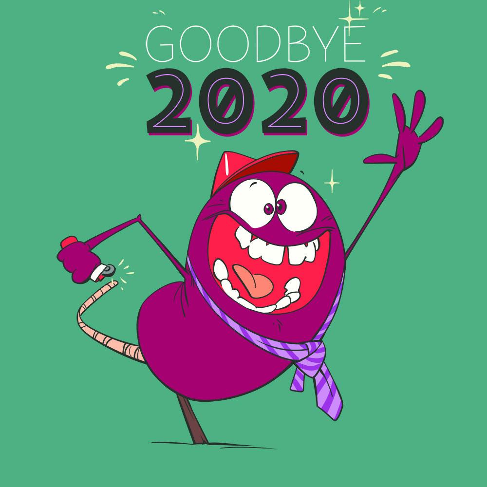 Darstellung einer Silvesterrakete die sich selbst entzündet um sich aus dem Jahr 2020 zu verabschieden