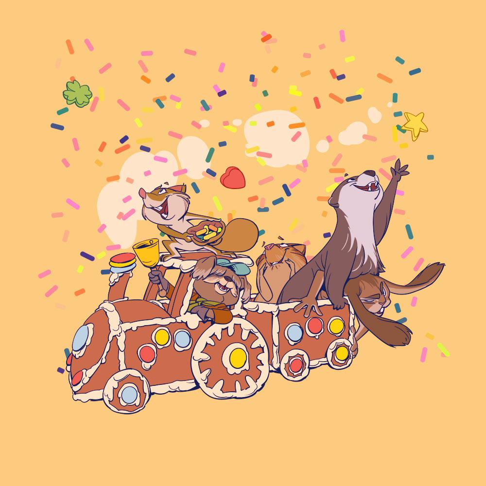 Darstellung einer Gruppe Tiere die in einem Lebkuchenzug fährt, und sich über herabrieselnde Zuckerstreusel freuen