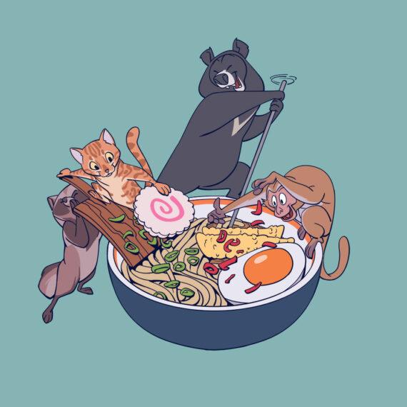 Darstellung einer Gruppe von Tieren beim Zusammenstellen einer Ramen-bowl