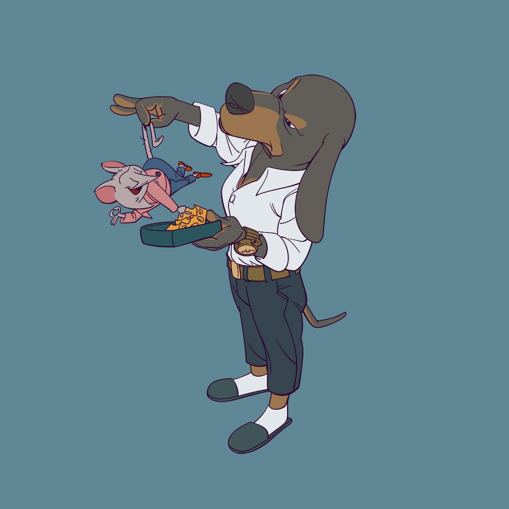Darstellung eines fein gekleideten Dackels der eine Maus dabei erwischt hat, von seinem Käse zu stehlen