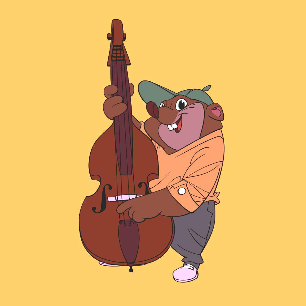 Darstellung eines Bass-spielenden Hamsters